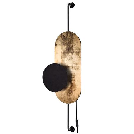 Настенный светильник Nowodvorski Wheel 8430, 1xG9x20W, черный, матовое золото, металл, дерево