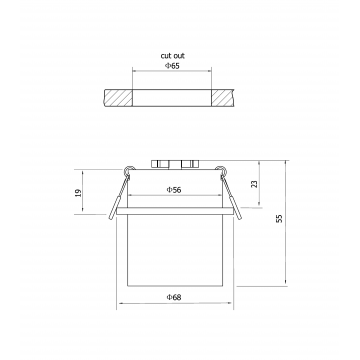 Схема с размерами Maytoni DL050-01WG