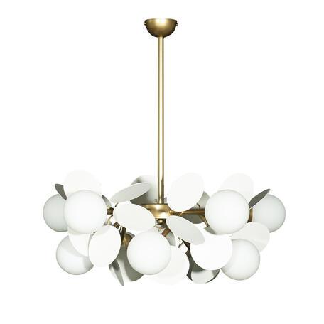 Подвесная люстра Loft It Matisse 10008/10 white, 10xG9x5W, бронза, белый, металл, стекло
