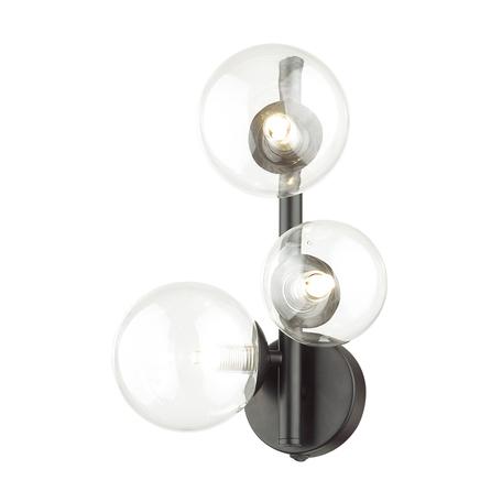 Бра Odeon Light Modern Tovi 4818/3W, 3xG9x40W, черный, прозрачный, металл, стекло