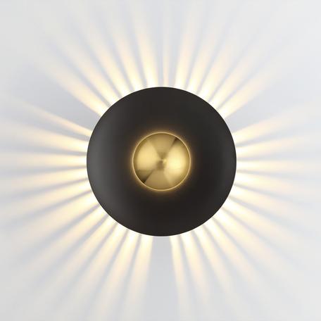 Настенный светодиодный светильник Odeon Light Midcent Adamas 4223/13WL, LED 13W 3000K 1520lm, черный, матовое золото, металл