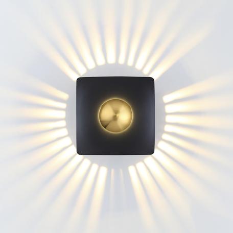 Настенный светодиодный светильник Odeon Light Midcent Adamas 4224/13WL, LED 13W 3000K 1520lm, черный, матовое золото, металл