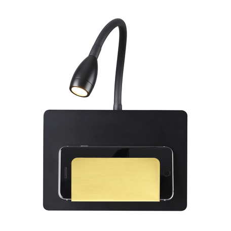 Настенный светодиодный светильник с регулировкой направления света с полкой Odeon Light Hightech Sonia 4242/3WL, LED 3W 3000K 240lm, черный, металл