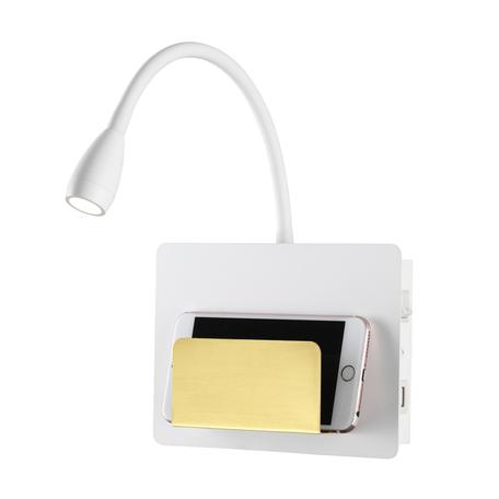 Настенный светодиодный светильник с регулировкой направления света с полкой Odeon Light Hightech Sonia 4243/3WL, LED 3W 3000K 240lm, белый, металл