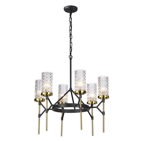 Подвесная люстра Odeon Light Midcent Vittoria 4225/6, 6xE14x60W, черный, прозрачный, металл, стекло
