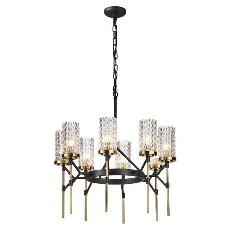 Подвесная люстра Odeon Light Midcent Vittoria 4225/8, 8xE14x60W, черный, прозрачный, металл, стекло