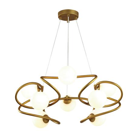 Подвесная люстра Odeon Light Slota 4806/8, 8xG9x40W, матовое золото, белый, металл, стекло