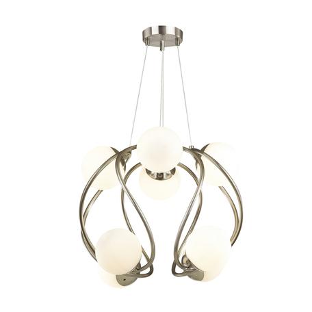 Подвесная люстра Odeon Light Modern Slota 4807/8, 8xG9x40W, никель, белый, металл, стекло