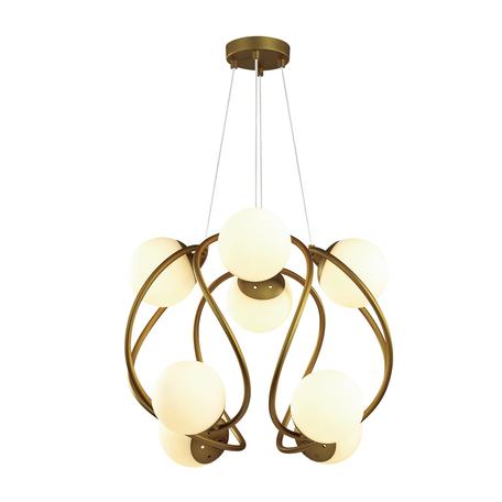 Подвесная люстра Odeon Light Modern Slota 4808/8, 8xG9x40W, матовое золото, белый, металл, стекло