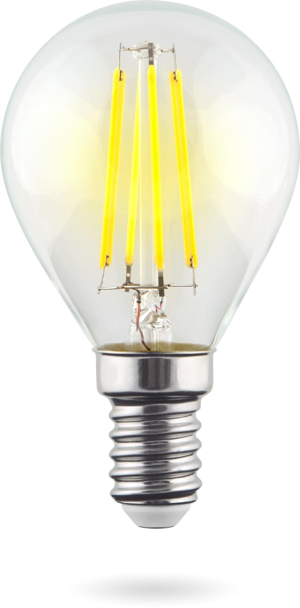 Филаментная светодиодная лампа Voltega Crystal 7098 шар малый E14 9W, 2800K (теплый) 220V, гарантия 3 года - фото 1