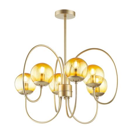 Потолочная люстра Lumion Moderni Scarlett 4482/6C, 6xE14x60W, матовое золото, желтый, металл, стекло
