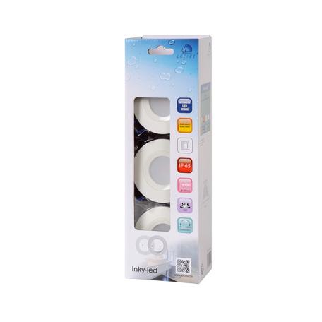 Встраиваемый светодиодный светильник Lucide Inky-LED 22971/18/99, IP65, LED 6W 2700K 400lm CRI80, белый, серый, металл, пластик