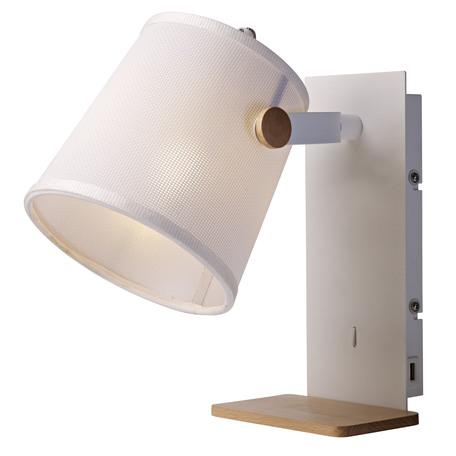 Настенный светильник с регулировкой направления света с полкой Mantra Nordica II 5462, белый, коричневый, дерево, металл, текстиль