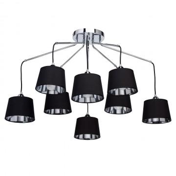 Люстра-каскад MW-Light Лацио 103011308, 8xE27x40W, хром, черный, металл, текстиль