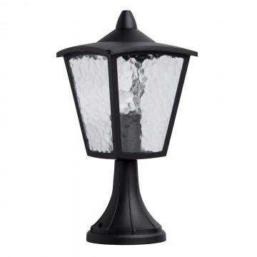 Садово-парковый светильник De Markt Телаур 806040401, IP44, 1xE27x60W, черный, прозрачный, металл, металл со стеклом