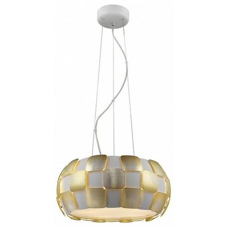 Подвесной светильник Divinare Beata 1317/13 SP-5 SALE, 5xE27x24W, белый, матовое золото, металл, пластик