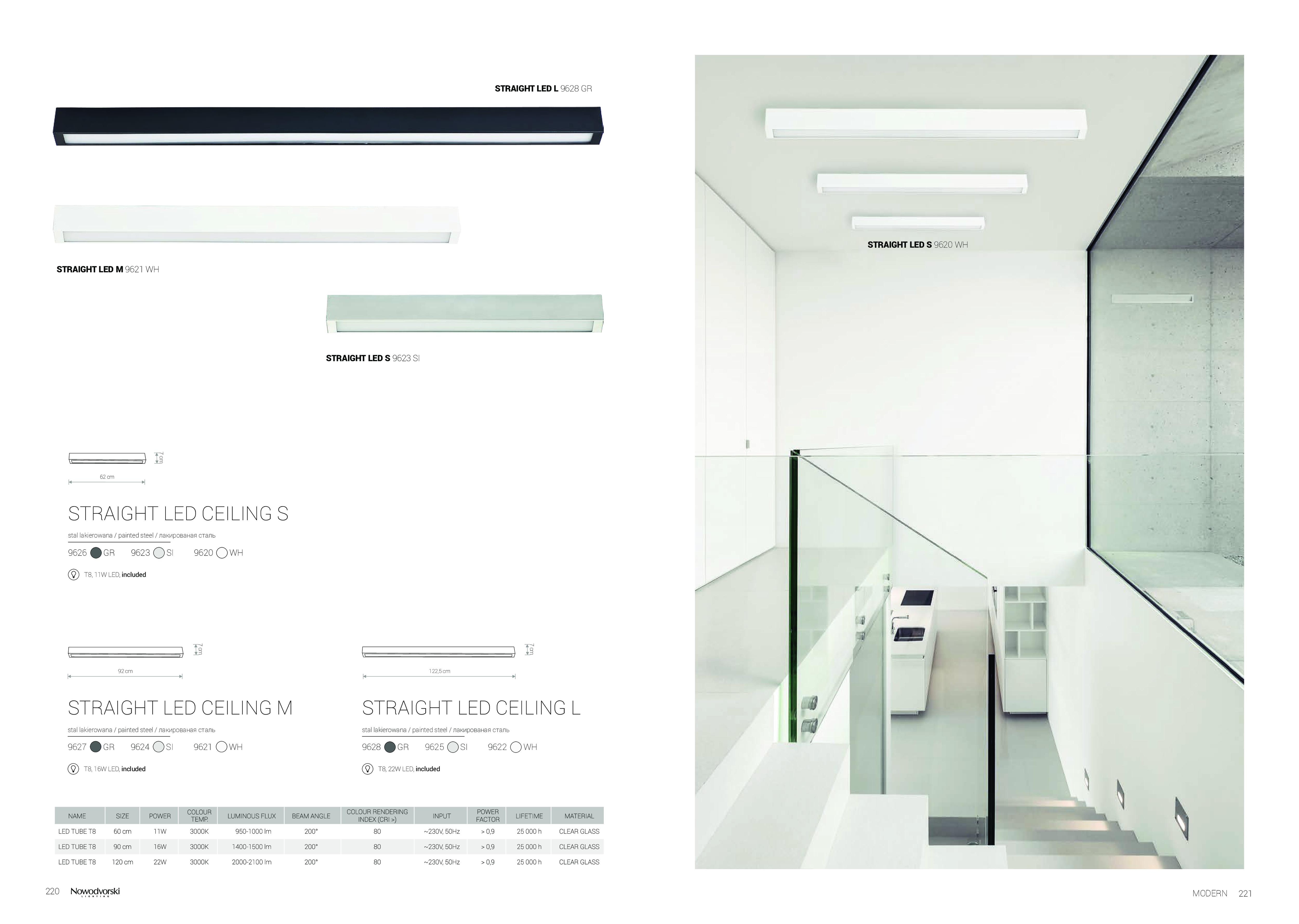 Потолочный светильник Nowodvorski Straight 9626, 1xG13T8x10W, серый, металл со стеклом, стекло - фото 2