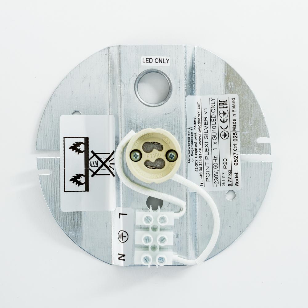 Потолочный светильник Nowodvorski Point Plexi 6527, 1xGU10x35W, белый с серебром, металл, пластик - фото 3