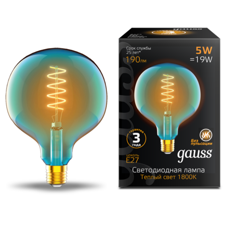 Светодиодная лампа Gauss Filament Oversize 1013802105 шар малый E27 5W, 1800K (теплый) CRI80 220V