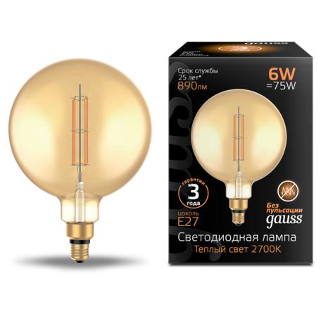 Светодиодная лампа Gauss Filament Oversize 154802118 шар E27 6W, 2700K (теплый) CRI80 220V