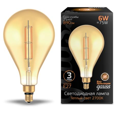 Светодиодная лампа Gauss Filament Oversize 179802118 капля E27 6W, 2700K (теплый) CRI80 220V