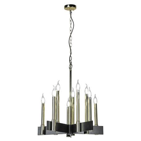 Подвесная люстра Lussole Loft Moultrie LSP-8203, IP21, 10xE14x40W, черный, золото, металл