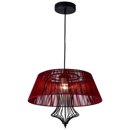 Подвесной светильник Lussole Loft Cameron LSP-8107, IP21, 1xE27x40W, черный, красный, металл, текстиль