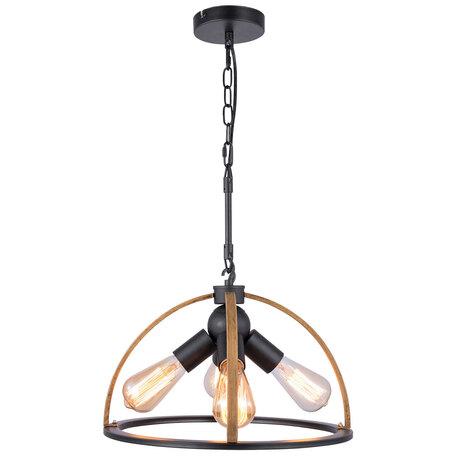 Подвесной светильник Lussole Loft Cornville LSP-8576, IP21, 4xE27x40W, черный, коричневый, металл