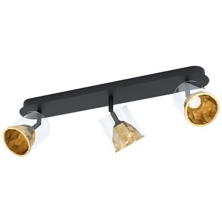 Потолочный светодиодный светильник с регулировкой направления света Eglo Melito 39575, LED 16,2W 3000K 1530lm, черный, матовое золото, металл, металл со стеклом