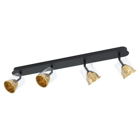 Потолочный светодиодный светильник с регулировкой направления света Eglo Melito 39576, LED 21,6W 3000K 2040lm, черный, матовое золото, металл, металл со стеклом