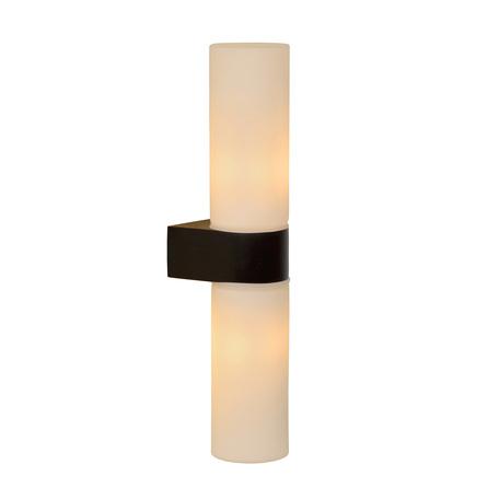 Настенный светильник Lucide Jesse 04202/02/30, IP44, 2xG9x33W, черный, белый, металл, стекло