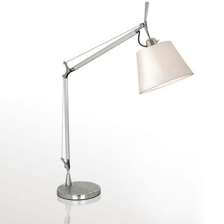 Настольная лампа Favourite Phantom 1867-1T, 1xE27x60W, серебро, белый, металл, текстиль
