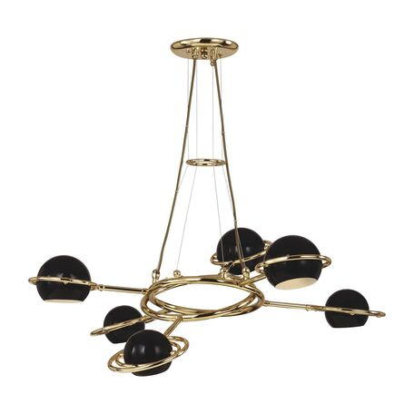 Подвесная люстра с регулировкой направления света Favourite Pallino 1842-6P, 6xG9x40W, золото, черный, металл