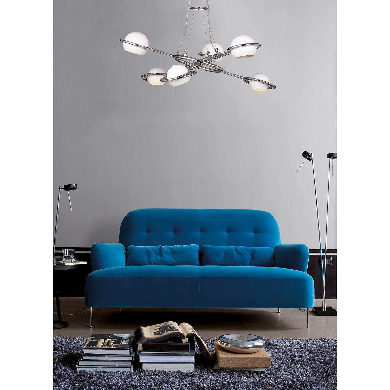 Подвесная люстра с регулировкой направления света Favourite Pallino 1843-6P, 6xG9x40W, хром, белый, металл - фото 2