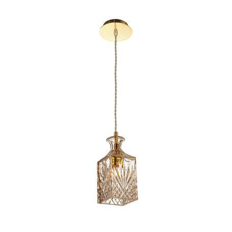 Подвесной светильник Favourite Bottle 1856-1P, 1xE27x60W, золото, коньячный, металл, стекло