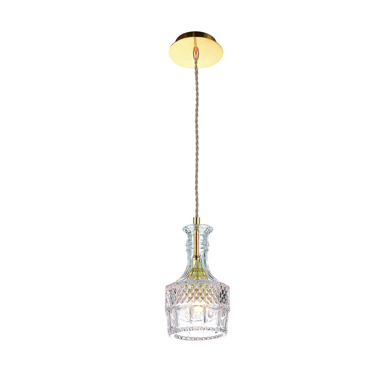 Подвесной светильник Favourite Bottle 1857-1P, 1xE27x60W, золото, прозрачный, металл, стекло - фото 1