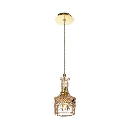 Подвесной светильник Favourite Bottle 1858-1P, 1xE27x60W, золото, коньячный, металл, стекло