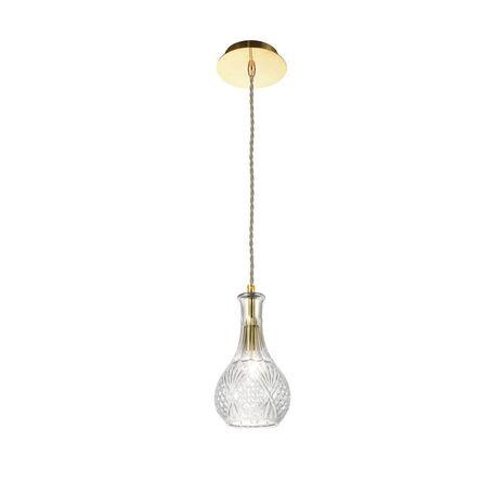 Подвесной светильник Favourite Bottle 1862-1P, 1xE27x60W, золото, прозрачный, металл, стекло