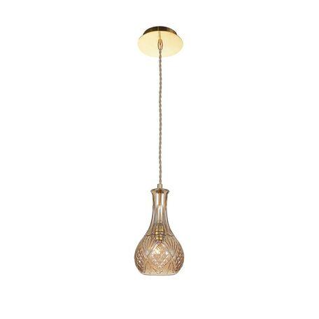 Подвесной светильник Favourite Bottle 1863-1P, 1xE27x60W, золото, коньячный, металл, стекло