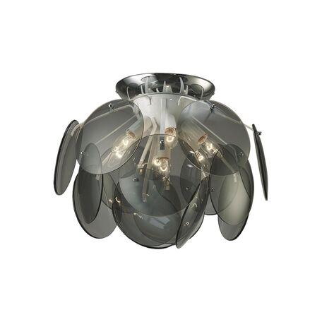 Потолочная люстра Favourite Megapolis 1310-7U, 7xE14x40W, хром, дымчатый, металл, стекло