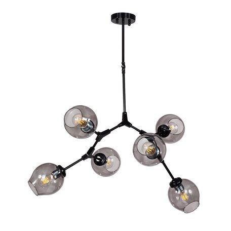 Потолочная люстра Favourite Bolos 1742-6P, 6xE27x40W, черный, дымчатый, металл, стекло