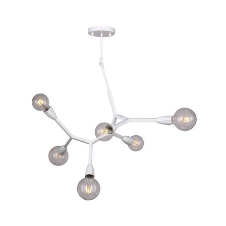 Потолочная люстра Favourite Electron 1755-6P, 6xE27x40W, белый, прозрачный, металл, стекло