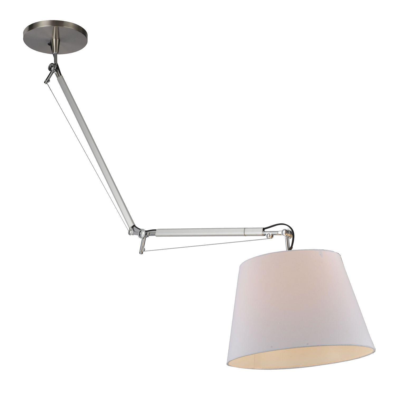 Потолочный светильник на складной штанге Favourite Phantom 1867-1P, 1xE27x60W, серебро, белый, металл, текстиль - фото 1