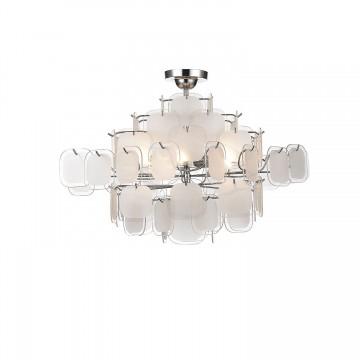 Потолочно-подвесная люстра Favourite Glass-pieces 1424-6PC, 6xE14x40W, хром, белый, прозрачный, металл, стекло