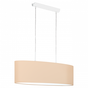 Подвесной светильник Eglo Pasteri-P 97563, 2xE27x60W, белый, бежевый, металл, текстиль