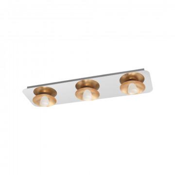 Потолочный светодиодный светильник Eglo Torano 97523, LED 16,2W 3000K 1530lm, хром, матовое золото, металл, металл со стеклом