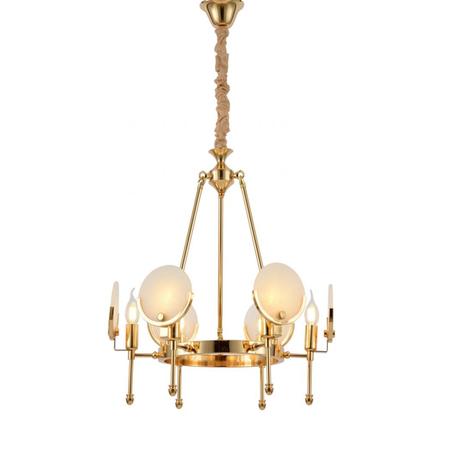 Подвесная люстра Lumina Deco Montego LDP 8010-6 F.GD, 6xE14x40W, золото, белый, металл, стекло