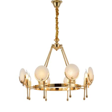 Подвесная люстра Lumina Deco Montego LDP 8010-8 F.GD, 8xE14x40W, золото, белый, металл, стекло