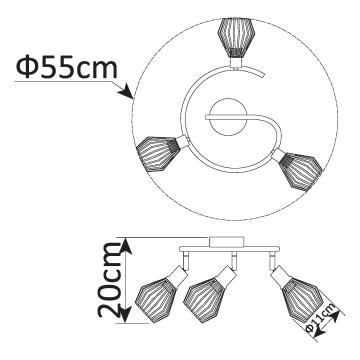 Спот Arte Lamp Grato A9163PL-3BK, 3xE14x40W, черный, медь, металл - миниатюра 2