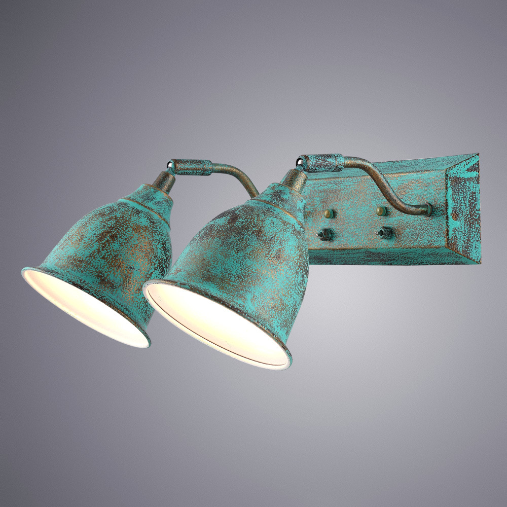 Бра с регулировкой направления света Arte Lamp Campana A9557AP-2BG, 2xE14x40W, бирюзовый, металл - фото 1